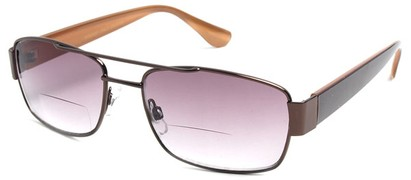 Angle of SW Aviator Bifocal Style #9956 in Bronze and Brown, Women's and Men's
