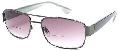 Angle of SW Aviator Bifocal Style #9956 in Grey and Black, Women's and Men's
