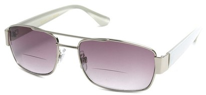 Angle of SW Aviator Bifocal Style #9956 in Silver and White, Women's and Men's