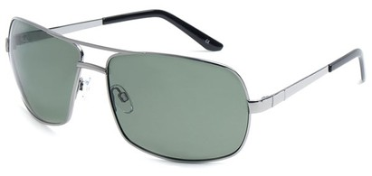Angle of SW Polarized Aviator Style #515 in Silver Frame with Green Lenses, Women's and Men's