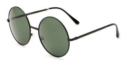 Angle of Rainier #244 in Black Frame with Green Lenses, Women's and Men's Round Sunglasses