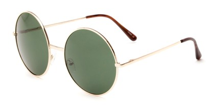 Angle of Rainier #244 in Gold Frame with Green Lenses, Women's and Men's Round Sunglasses