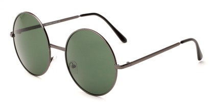 Angle of Rainier #244 in Grey Frame with Green Lenses, Women's and Men's Round Sunglasses