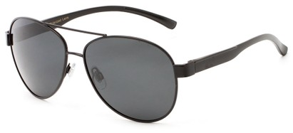 Angle of Tigris #2171 in Black Frame with Smoke Lenses, Men's Aviator Sunglasses