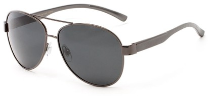 Angle of Tigris #2171 in Grey Frame with Smoke Lenses, Men's Aviator Sunglasses