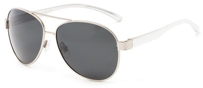 Angle of Tigris #2171 in Silver Frame with Smoke Lenses, Men's Aviator Sunglasses