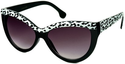 Angle of SW Cat Eye Style #1266 in Black/Leopard Frame with Smoke Lenses, Women's and Men's