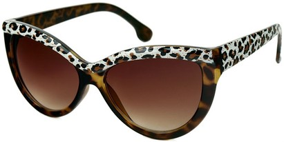 Angle of SW Cat Eye Style #1266 in Brown Tortoise/Leopard Frame with Amber Lenses, Women's and Men's