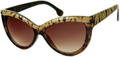 Angle of SW Cat Eye Style #1266 in Brown Tortoise/Tiger Frame with Amber Lenses, Women's and Men's