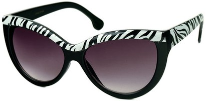 Angle of SW Cat Eye Style #1266 in Black/Zebra Frame with Smoke Lenses, Women's and Men's