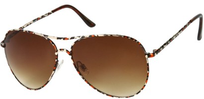 Angle of SW Animal Print Aviator Style #1237 in Red Leopard Frame with Amber Lenses, Women's and Men's