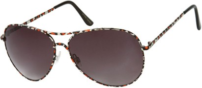 Angle of SW Animal Print Aviator Style #1237 in Red Leopard Frame with Smoke Lenses, Women's and Men's