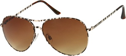 Angle of SW Animal Print Aviator Style #1237 in Gold Zebra Frame with Amber Lenses, Women's and Men's