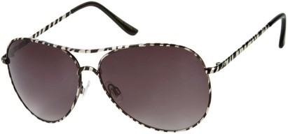 Angle of SW Animal Print Aviator Style #1237 in Silver Zebra Frame with Smoke Lenses, Women's and Men's