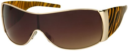 Angle of SW Animal Print Style #474 in Tan Tiger Frame, Women's and Men's