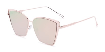 Angle of Adaline #565 in Gold Frame with Pink/Green Mirrored Lenses, Women's Cat Eye Sunglasses