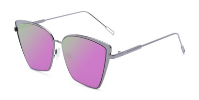 Angle of Adaline #565 in Grey Frame with Purple/Yellow Mirrored Lenses, Women's Cat Eye Sunglasses