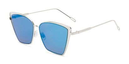 Angle of Adaline #565 in Silver Frame with Blue Mirrored Lenses, Women's Cat Eye Sunglasses