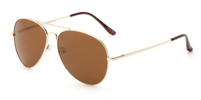 Angle of Admiral #490 in Gold Frame with Brown Lenses, Women's and Men's Aviator Sunglasses