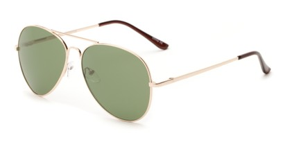 Angle of Admiral #490 in Gold Frame with Green Lenses, Women's and Men's Aviator Sunglasses