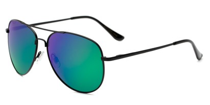 Angle of Amazon #2174 in Black Frame with Green/Purple Mirrored Lenses, Women's and Men's Aviator Sunglasses
