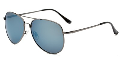 Angle of Amazon #2174 in Grey Frame with Blue Mirrored Lenses, Women's and Men's Aviator Sunglasses