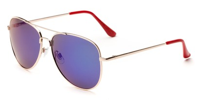 Angle of Amazon #2174 in Gold Frame with Blue/Green Mirrored Lenses, Women's and Men's Aviator Sunglasses