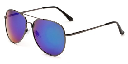 Angle of Amazon #2174 in Grey Frame with Blue/Green Mirrored Lenses, Women's and Men's Aviator Sunglasses