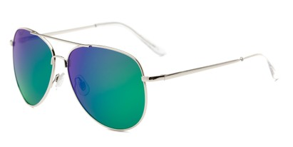 Angle of Amazon #2174 in Silver Frame with Green/Purple Mirrored Lenses, Women's and Men's Aviator Sunglasses