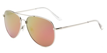 Angle of Amazon #2174 in Silver Frame with Pink/Yellow Mirrored Lenses, Women's and Men's Aviator Sunglasses
