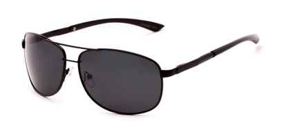 Angle of Archer #8309 in Black Frame with Grey Lenses, Men's Aviator Sunglasses