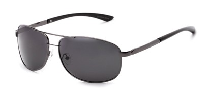 Angle of Archer #8309 in Glossy Grey Frame with Grey Lenses, Men's Aviator Sunglasses