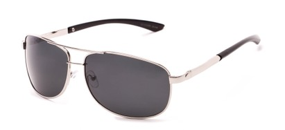 Angle of Archer #8309 in Glossy Silver Frame with Grey Lenses, Men's Aviator Sunglasses