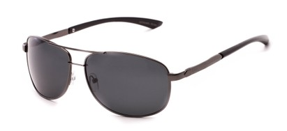 Angle of Archer #8309 in Matte Grey Frame with Grey Lenses, Men's Aviator Sunglasses