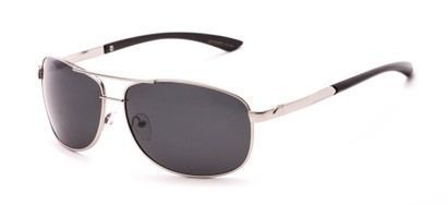 Angle of Archer #8309 in Matte Silver Frame with Grey Lenses, Men's Aviator Sunglasses