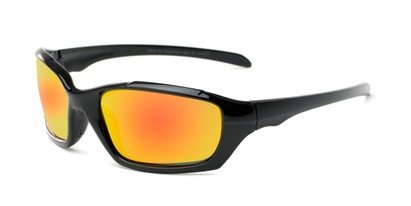Angle of Arctic #602 in Glossy Black Frame with Orange/Yellow Mirrored Lenses, Men's Sport & Wrap-Around Sunglasses