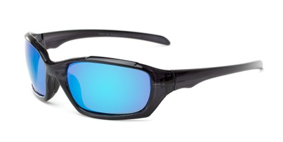 Angle of Arctic #602 in Black Frame with Blue Lenses, Men's Sport & Wrap-Around Sunglasses