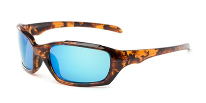 Angle of Arctic #602 in Tortoise Frame with Blue Mirrored Lenses, Men's Sport & Wrap-Around Sunglasses