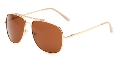 Angle of Arlington #2015 in Gold/Tan Frame with Amber Lenses, Women's and Men's Aviator Sunglasses