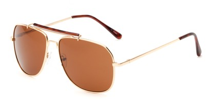 Angle of Arlington #2015 in Gold/Tortoise Frame with Amber Lenses, Women's and Men's Aviator Sunglasses