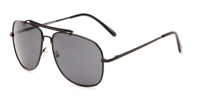 Angle of Arlington #2015 in Black Frame with Smoke Lenses, Women's and Men's Aviator Sunglasses