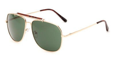 Angle of Arlington #2015 in Gold/Tortoise Frame with Green Lenses, Women's and Men's Aviator Sunglasses