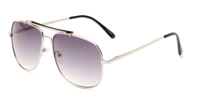 Angle of Arlington #2015 in Silver/Black Frame with Smoke Lenses, Women's and Men's Aviator Sunglasses