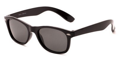 Angle of Arrowhead #8411 in Black Frame with Smoke Lenses, Women's and Men's Retro Square Sunglasses