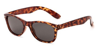 Angle of Arrowhead #8411 in Tortoise Frame with Smoke Lenses, Women's and Men's Retro Square Sunglasses