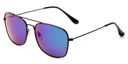 Angle of Aspen #365 in Black Frame with Green/Purple Mirrored Lenses, Women's and Men's Aviator Sunglasses
