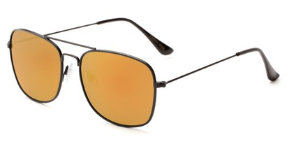 Angle of Aspen in Black Frame with Red/Orange Mirrored Lenses, Women's and Men's Aviator Sunglasses