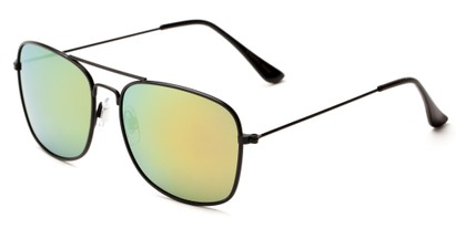 Angle of Aspen in Black Frame with Yellow/Blue Mirrored Lenses, Women's and Men's Aviator Sunglasses