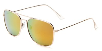 Angle of Aspen #365 in Gold Frame with Red/Orange Mirrored Lenses, Women's and Men's Aviator Sunglasses