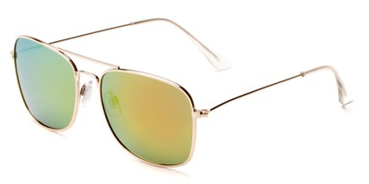 Angle of Aspen #365 in Gold Frame with Yellow/Blue Mirrored Lenses, Women's and Men's Aviator Sunglasses